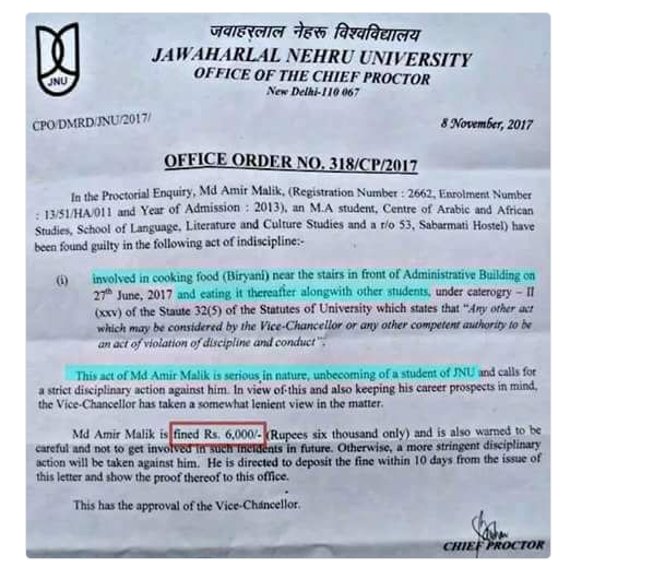 JNU students fined for cooking biryani student alleged back