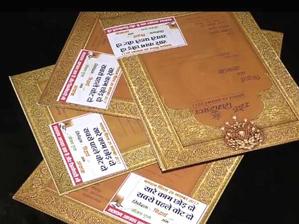 Wedding card advocating voting in UP civic election in Sitapur
