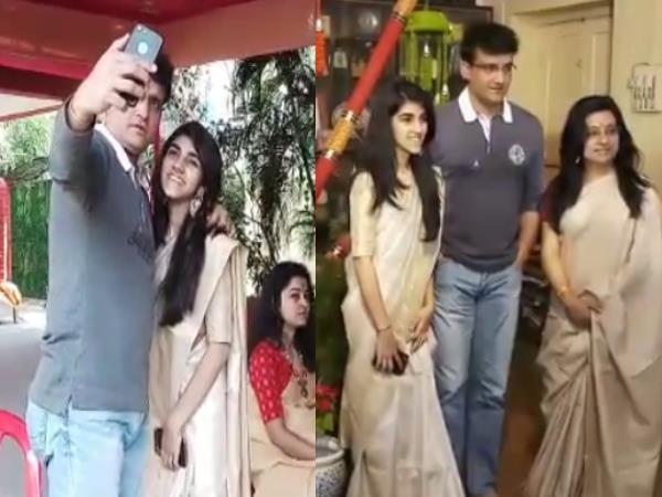 Sourav Ganguly adores maa saraswati with his wife dona and daughter sana