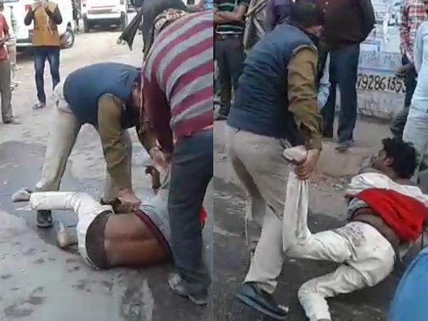 kanpur police beaten a man very badly video goes viral