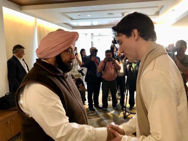#TrudeauInIndia: पंजाब के सीएम अमरिंदर ने गर्मजोशी के साथ की कनैडियन पीएम से मुलाकात