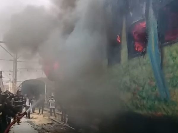 burning train in Pune