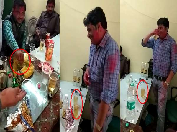 moradabad government employees caught having dring in government building