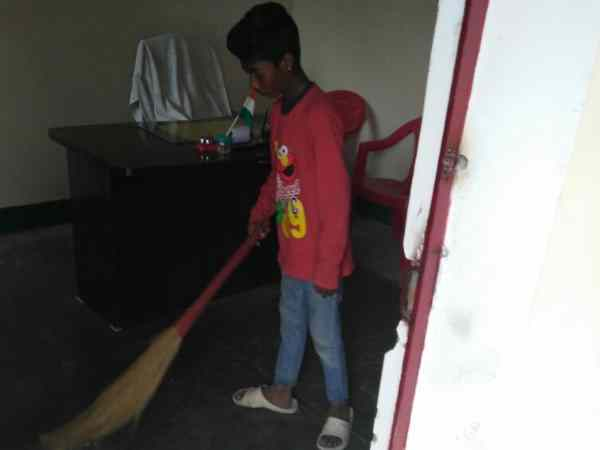 A broom felt in the education department office