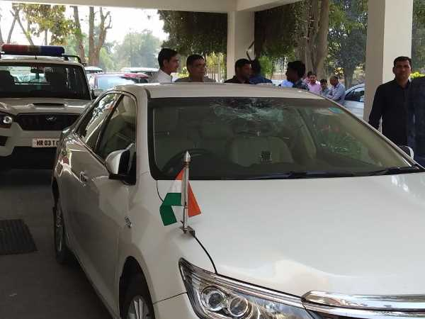 Haryana Health Minister Anil Vij car attacked by a person in Panipat