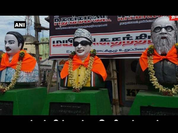 Tamil Nadu: Saffron cloth tied to busts of CN Annadurai MG Ramachandran Thanthai Periyar in Namakkal