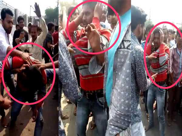 shahjahanpur two men caught and beaten badly after scatching chain