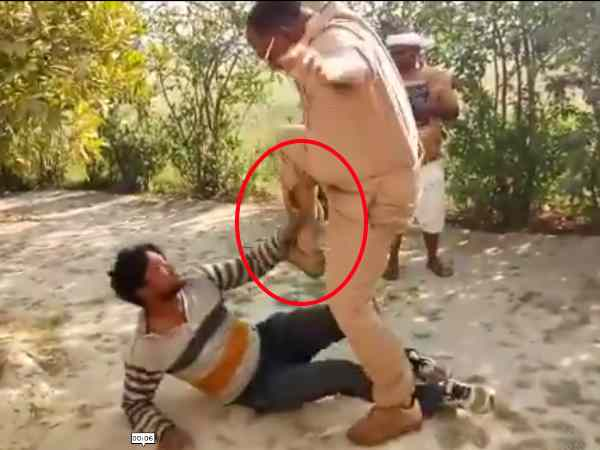 viral Video of the beating of a man by a policeman in Pratapgarh