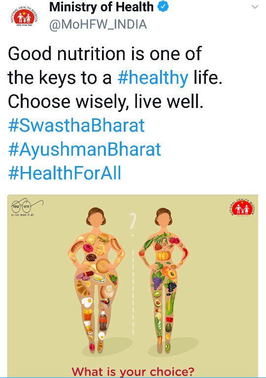 health ministry tweet on which people objects related to nutrition