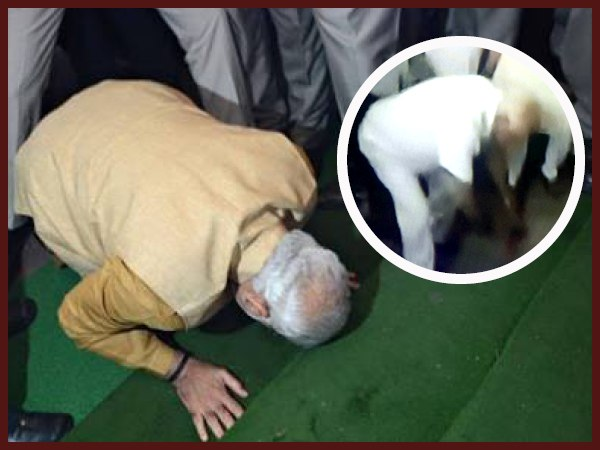 CM Yeddyurappa enters the assembly by bowing down to the steps follows pm modi