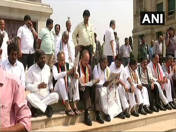 Congress holds protest at Mahatma Gandhis statue against BS Yeddyurappas swearing as karnataka cm