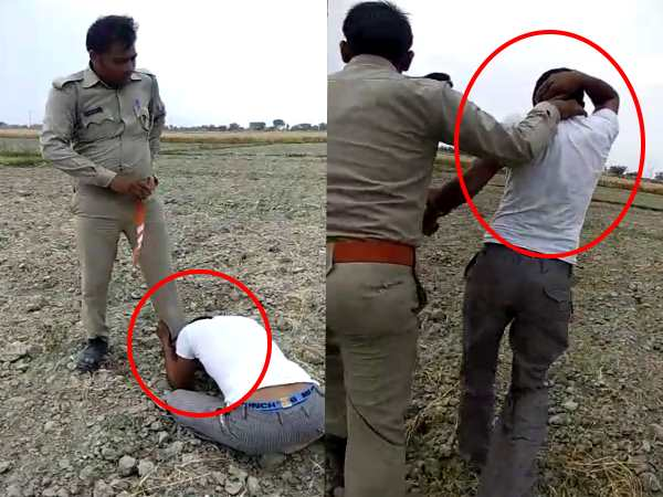 up police cruel face shown in mainpuri as he beaten a farmer very badly