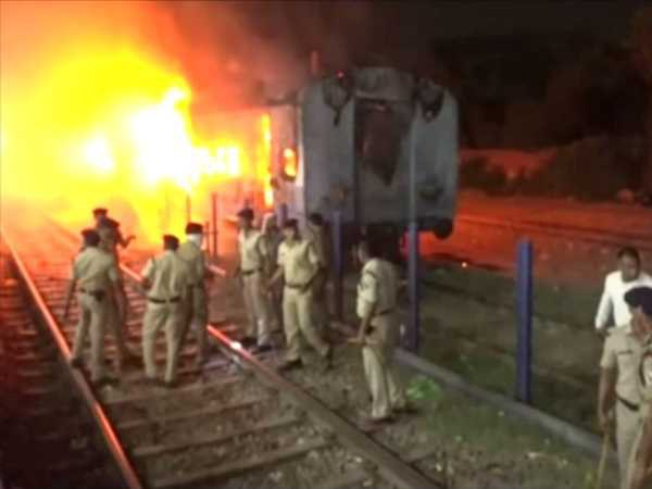 A fire broke out inside a coach of a train at Agra Cant railway station