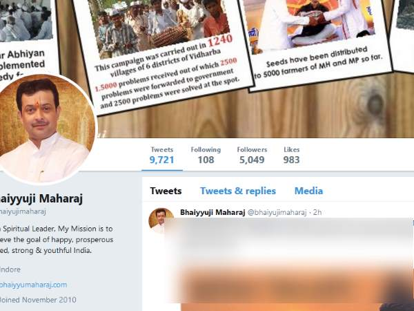 Bhaiyyuji Maharaj last tweets just before suicide