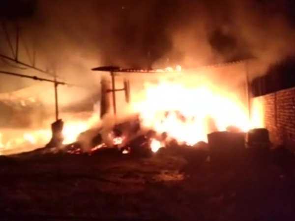 A Massive Fire Broke Out Inside A Foam Factory In Bulandshahr