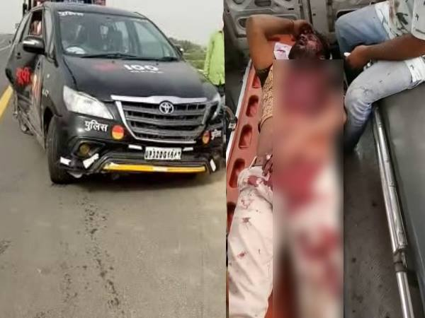 kannauj police collision with liquor smuggler 3 policeman injured