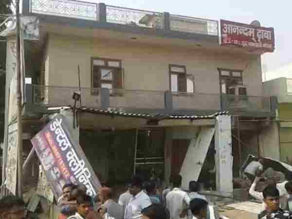 A building damaged badly due to cylinder blast in Mathura