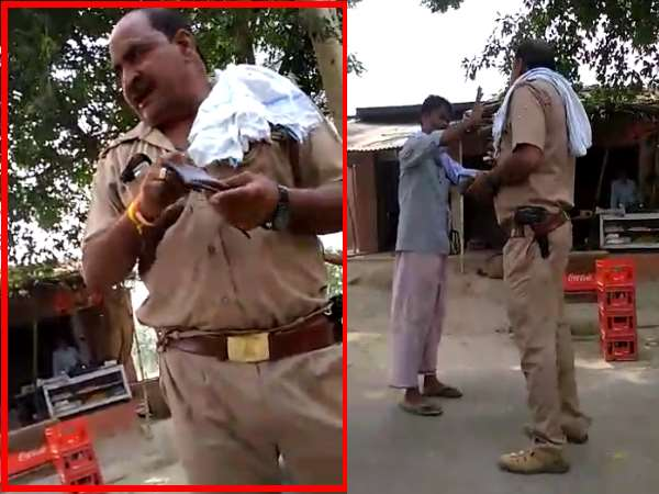 Hardoi Up Police Drunk Inspector Seen Abusing Public During Duty Hour