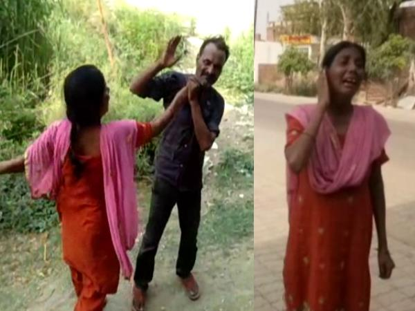 hardoi drunk husband wife beaten each other in public place