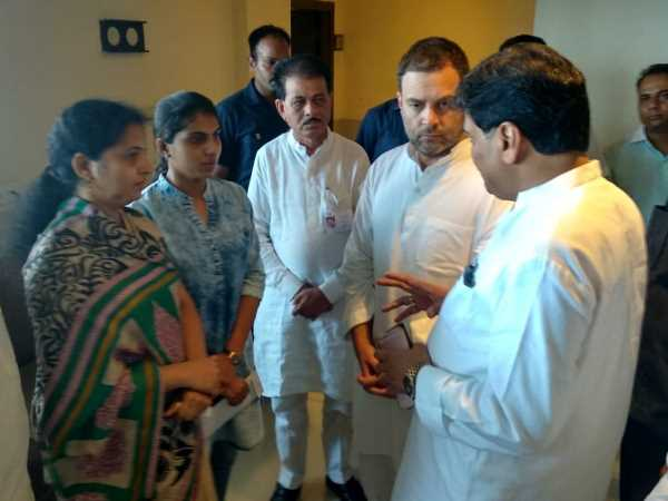 deceased workers wife reached to meet Rahul Gandhi