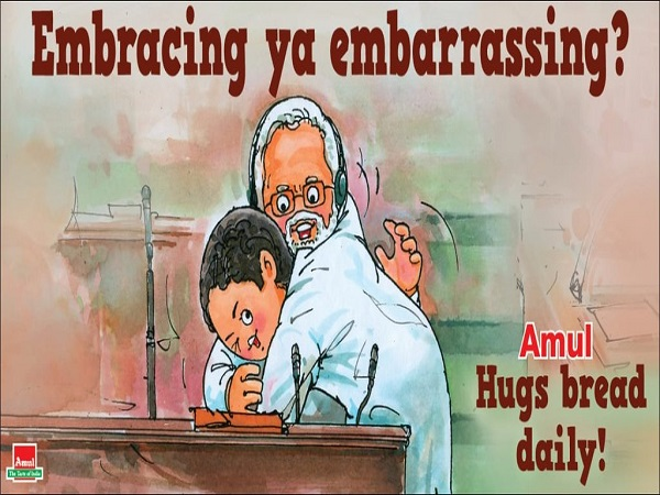 no confidence motion: rahul gandhi hugs pm modi amul cartoon embracing or embarrassing