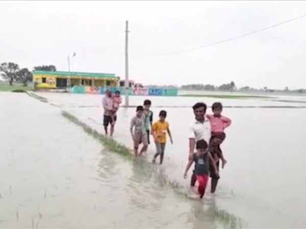 school flooded with water due to heavy rain in etawah