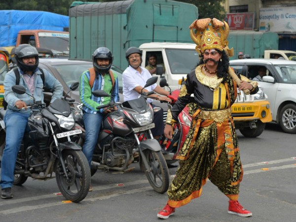 Bengaluru Lord Yamraj on roads to teach importance of helmet