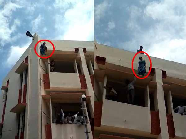 Women try to jump from the court building in muzaffarnagar