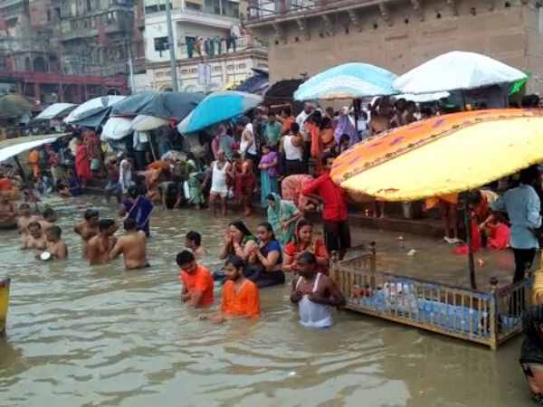 Devotees in Varanasi take holy dip in Ganga river after