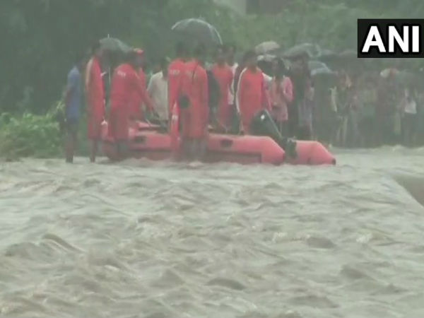 An NDRF team rescued around 12 people who were stranded in the middle of a river in Godhra, Gujarat