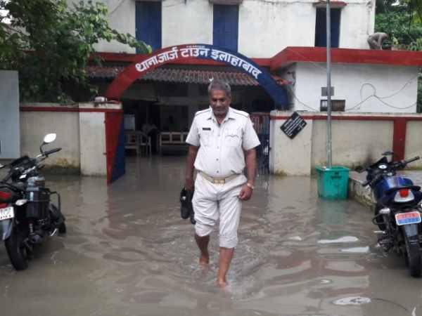 water logged streets in Allahabad city following heavy rainfall