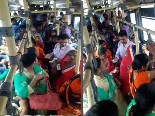 Bus conductor taking fare charge from women on rakshabandhan day