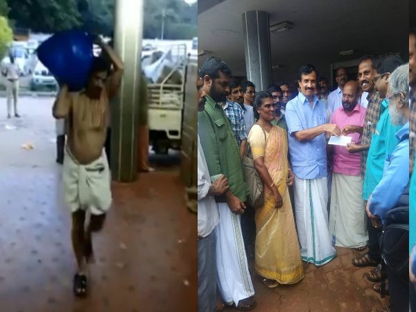 kerala flood: Kerala education minister carries flood relief material on shoulders, Watch VIDEO