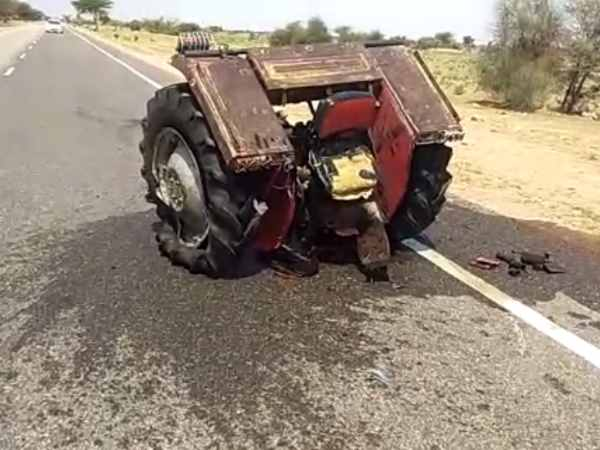 Two pieces of tractor made in road accident