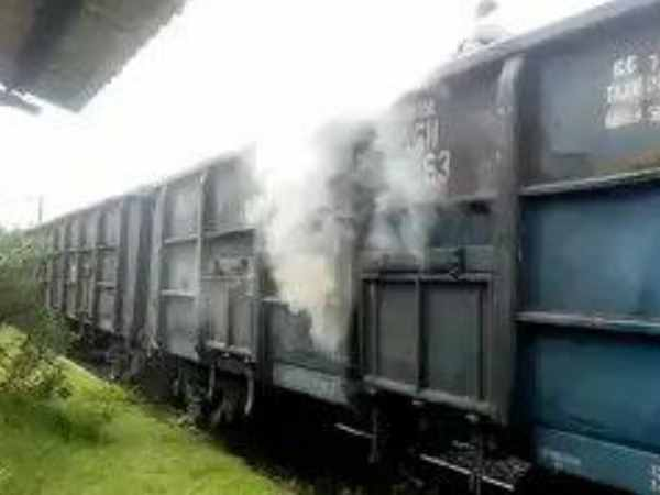 fire in one wagon of goods train in kaushambi