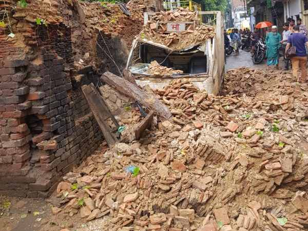 Lucknow Building collapses in Ganeshganj area following heavy rainfall