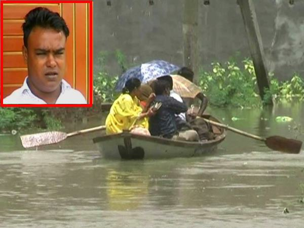 due to heavy rain people of kanpur makdi kheda uses boat for travelling