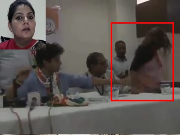 jyotiraditya sindhiya lowered Congress spokesman Noori Khan to stage down, video viral