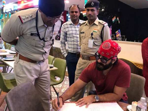 saif ali khan visited to devi ahilya airport Indore shown his ID card