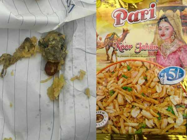 Lizard in the pack of snacks in Shahjahanpur
