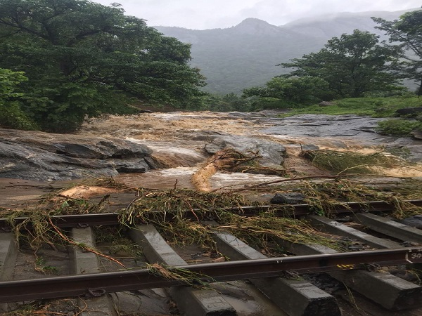 kerala Heavy rain subsequent water flow damaged a section of the track between Kanjikode and Walayar
