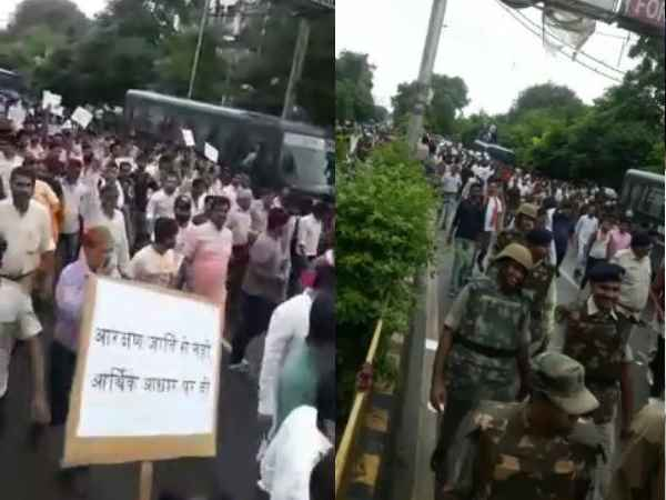 people protesting in gwalior for SC ST act
