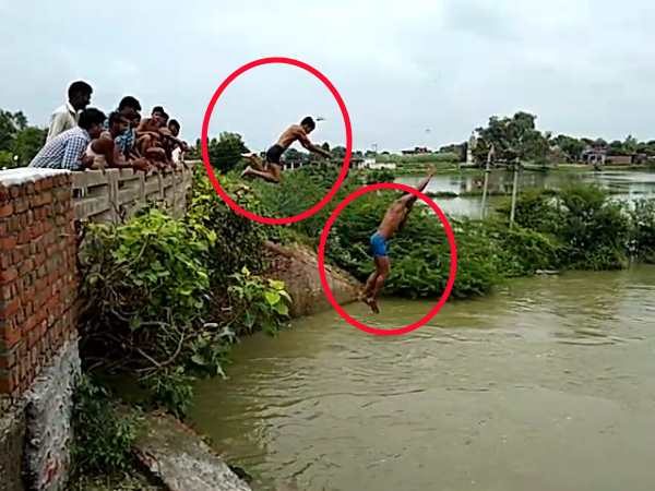 watch the video of kanpur boys who stunts from 100 meter height to rind river