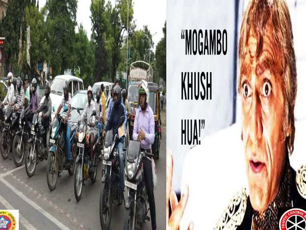 after Gabbar singh Nagpur Traffic police new poster, says mogambo khush hua