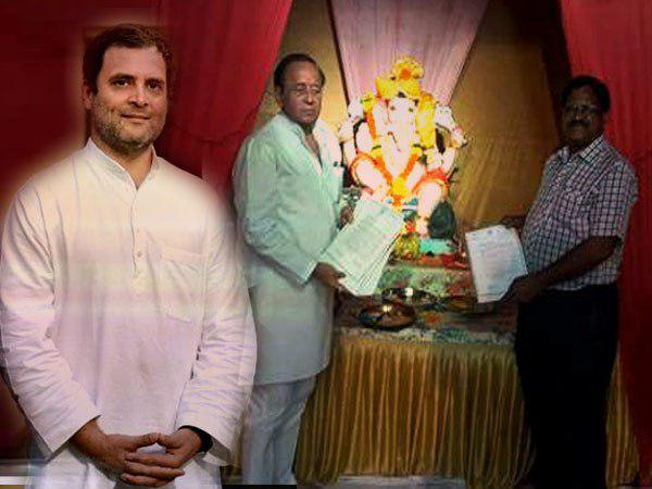 Congress brings vachan patra and shows in front of lord ganesha first