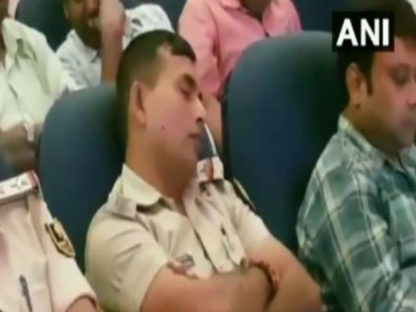 WATCH: Police officers seen sleeping during a law and order briefing ahead of Durga Puja in Patna,earlier today.