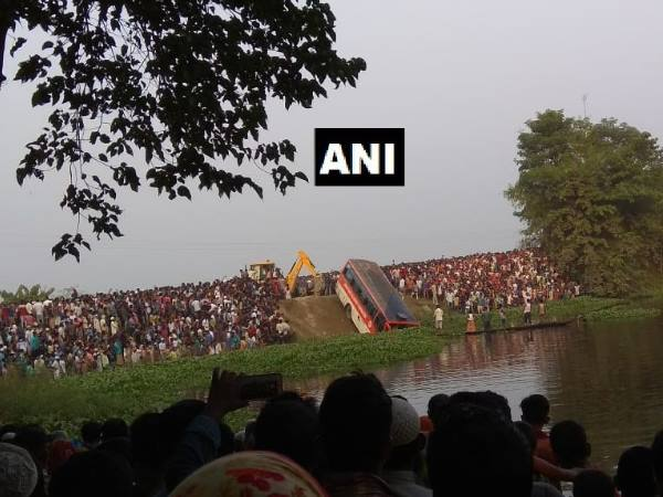 Assam Transport Corporation bus fell in pond several dead more than 20 injured