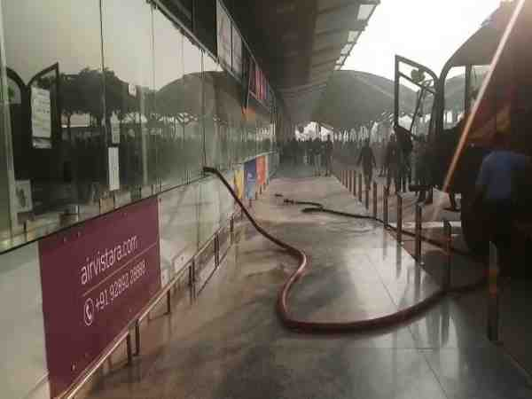 fire at the air india ticket counter in varanasi airport