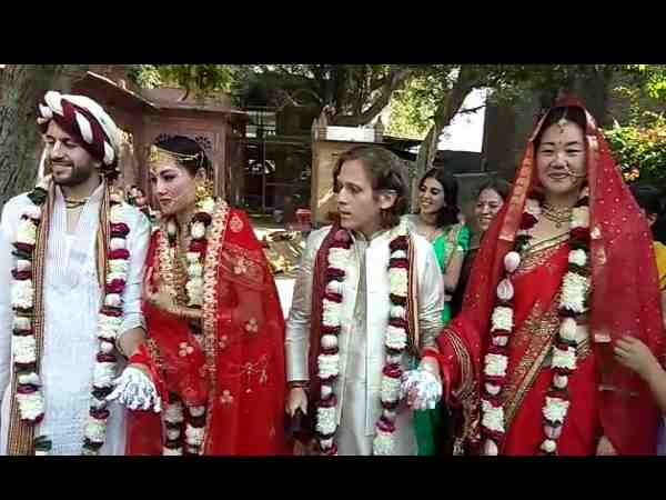 two foreign couple got married through hindu customs in vrindavan