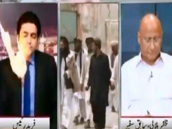Pakistani anchor gets hit by ball of fire on live TV. Watch viral video